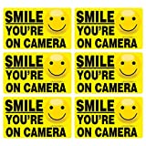 6 Pk SMILE YOU'RE ON CAMERA Stickers LAMINATED Video Alarm Security System Decal Warning