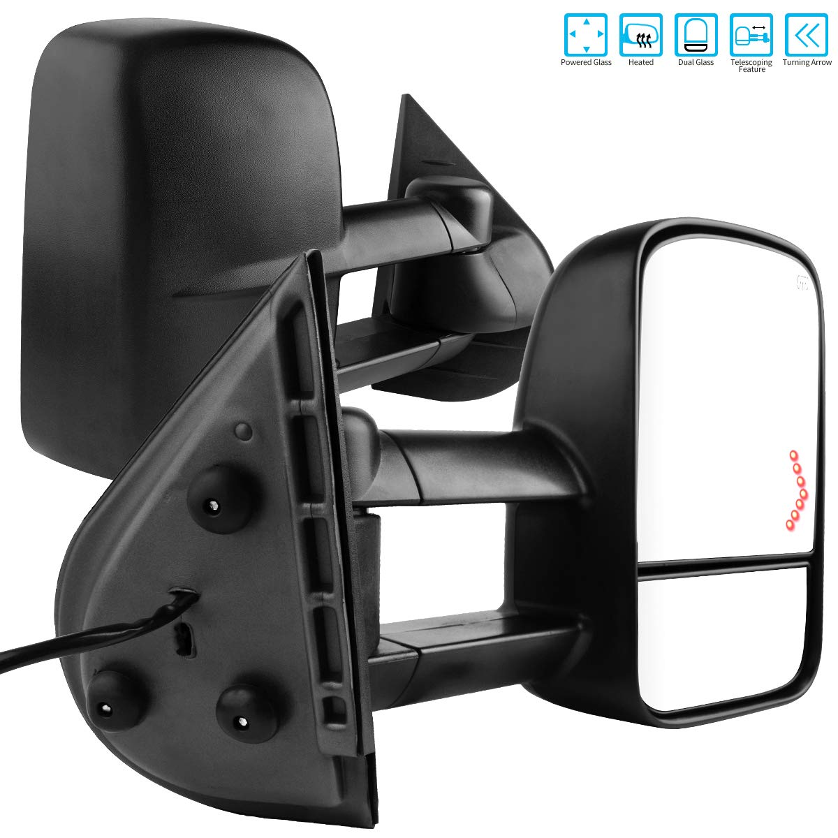 AUTOSAVER88 Tow Mirrors Compatible for 2007-2014 Chevy Silverado GMC Sierra, Power Heated Driver and Passenger Side Replacement Towing Mirror Set with Turn Signal and Dual Glass by AUTOSAVER88