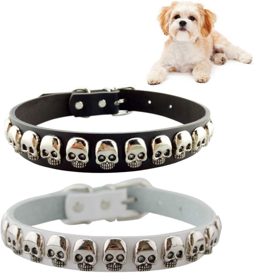 犬の首輪 PUレザー製 犬用首輪 サイズ調節可能 犬 首輪 頭蓋骨飾り付、ブラック、ホワイト、2個入り