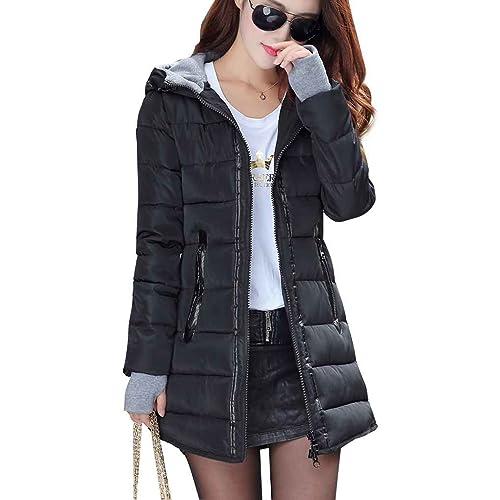 Ranboo mujeres con capucha de chaqueta de invierno de manga larga delgado