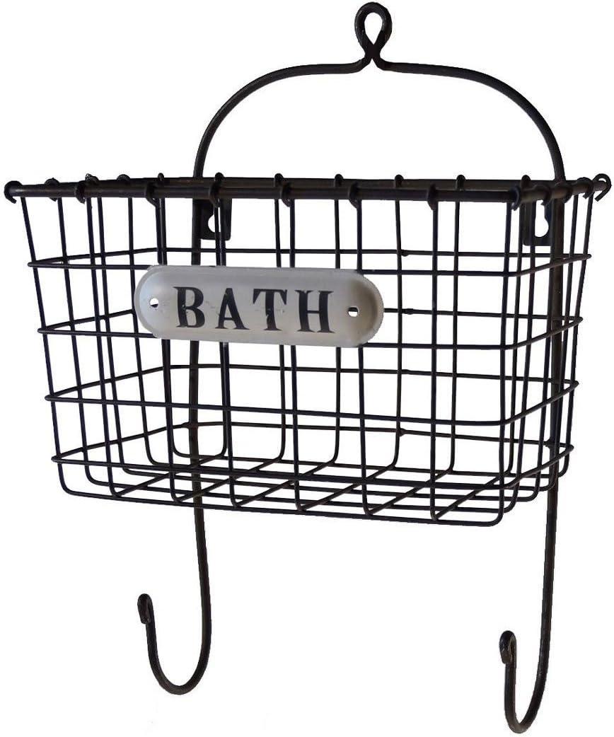 AMERICAN MERCANTILE Vintage Metal Bath Bin w/hooks - Bathroom Wall Organizer Black
