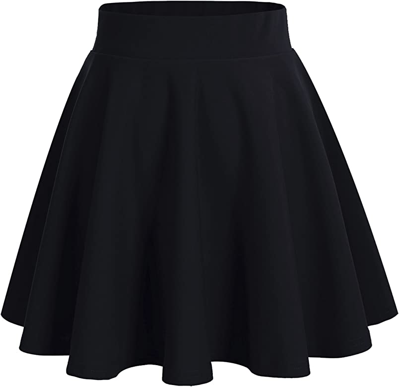 NEW BLACK FLARED MINI LENGTH SKIRT LADIES STRETCH PLEATED WOMENS PLAIN 8 10 12