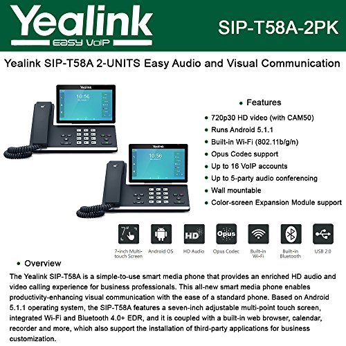 Yealink SIP-T58A 2-PACK IP Phone Smart Media Android HD Phone 16-Lines, USB port (Phone Ports Sip)