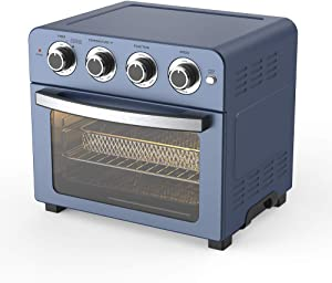 Convection Toaster Oven Air fryer Combo 6-in-1 Countertop Conventional Electric Digital Stainless Steel Compact Baking Roasters With Rotisserie Dehydrator Recipe Included Small Appliances with Knobs for Kitchen Home 24 QT Large Capacity Easy Clean (23L, Blue)