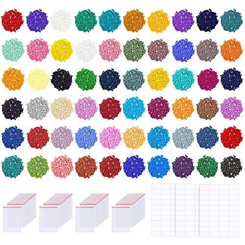 PP OPOUNT 60 Colors Diamond Painting Replacement Round Diamonds with 80 Pieces Self-Seal Bags, 3 Sheets 120 Tags Label Paper for Missing Drills of Diamond Cross Stitch DIY Crafts