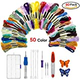 Magic Embroidery Pen Punch Needle, Warmhoming Embroidery Pen Set Craft Tool Including 50 Color Threads for DIY Threaders Sewing Knitting (Colorful)