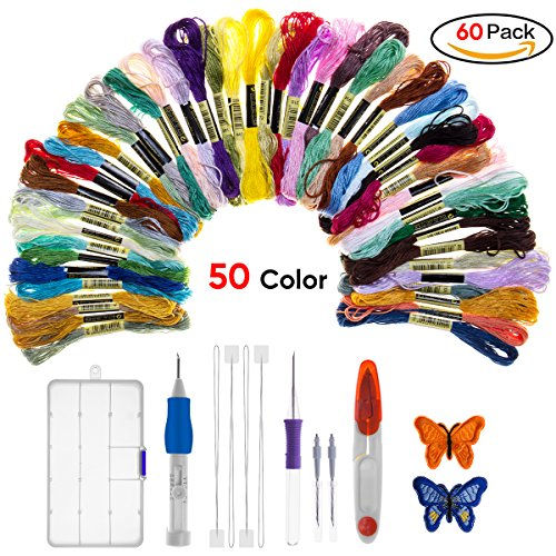 Magic Embroidery Pen Punch Needle, Warmhoming Embroidery Pen Set Craft Tool Including 50 Color Threads for DIY Threaders Sewing Knitting (Colorful) by Warmhoming