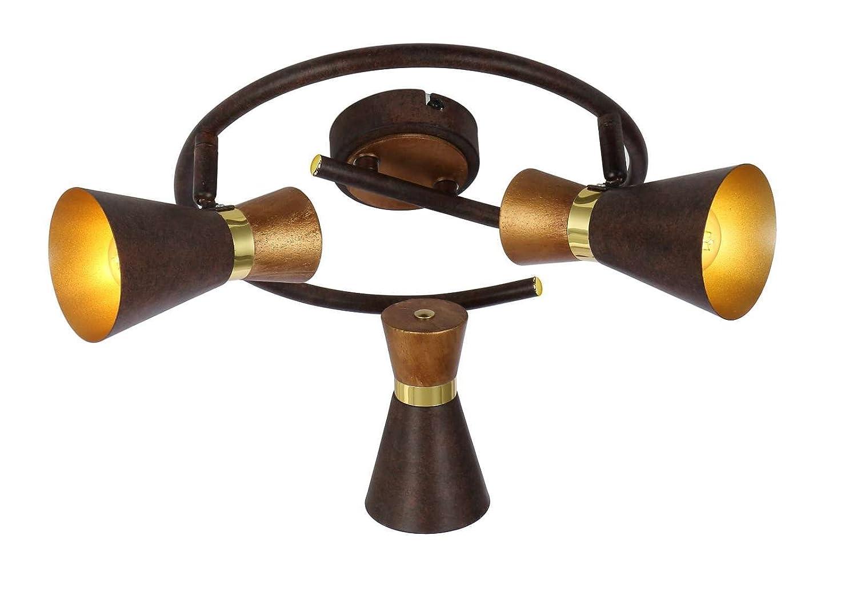 Deckenstrahler 3 Flammig Deckenlampe Flurlampe Deckenleuchte Deckenspot (Beweglich, Wohnzimmerlampe, Schlafzimmerlampe, Holz, Gold-Farben)
