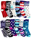 Sockbin Womens Fuzzy Socks Gripper Non Skid Sock Bottom, Soft Warm Patterned Furry Fuzzy Sock (12 Pack Assorted)