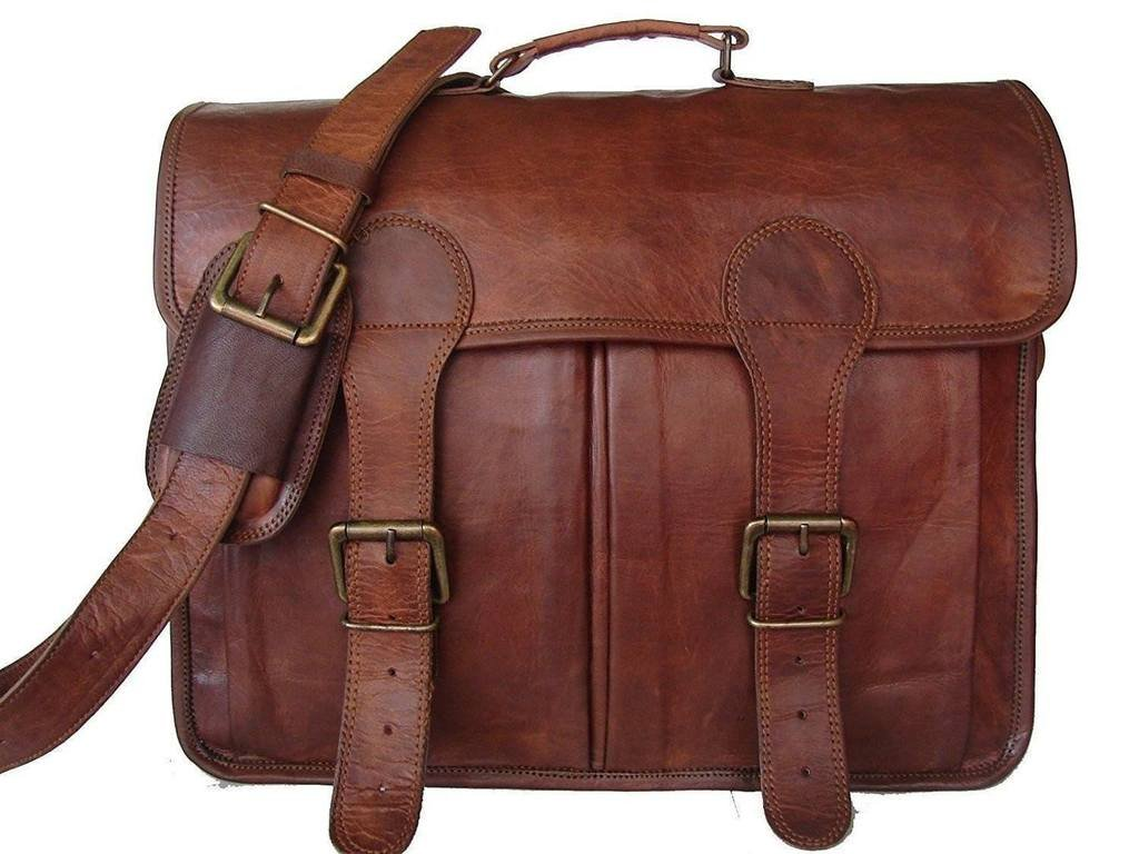 BHAVYA PURE LEATHER UNISEX OFFICE FORMAL TRAVEL BROWN LAPTOP MESSENGER BAG