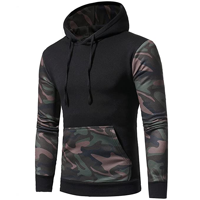 0a81040838 Amazon.com: Serzul Men Camouflage Hoodies Patchwork Long Sleeve ...