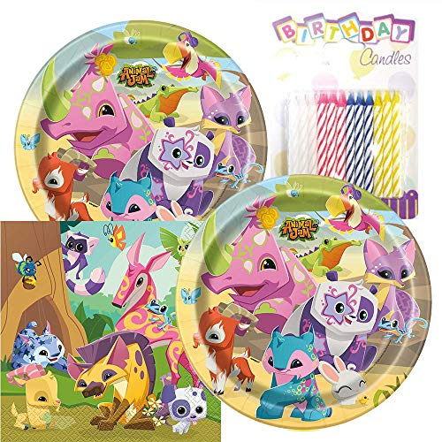 Animal Jam Themed Party Pack - Includes Paper Plates & Luncheon Napkins Plus 24 Birthday Candles - Servers 16