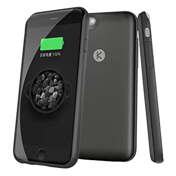 Funda Batería IPhone 6 6S Ultra Fina externa Funda Cargador para iPhone 6/6S 4.7 pulgadas con 2400mAh (Negro)