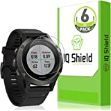 Garmin Fenix 5 Screen Protector (Garmin Fenix 5 Plus)(6-Pack), IQ Shield LiQuidSkin Full Coverage Screen Protector for Garmin Fenix 5 HD Clear Anti-Bubble Film