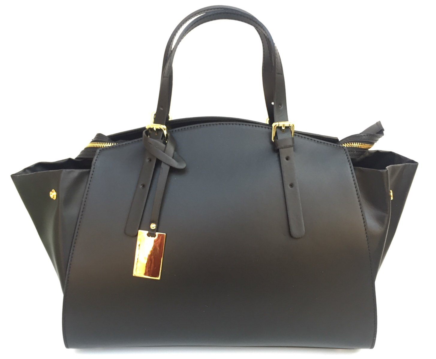 Superflygbags damväska modell Edwige (axel- eller handväska) äkta läder Made In Italy svart