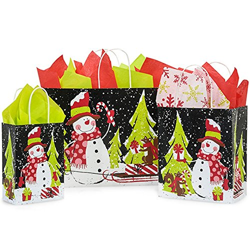 Chalkboard Snowman Paper Shopping Bag Assortment - 250 Pack by NW