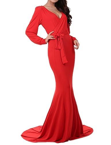 Dramaticbuying Women's Evening Gown Deep V-neck Floor Length Mermaid Formal Dress, Red, TagsizeXL=US...
