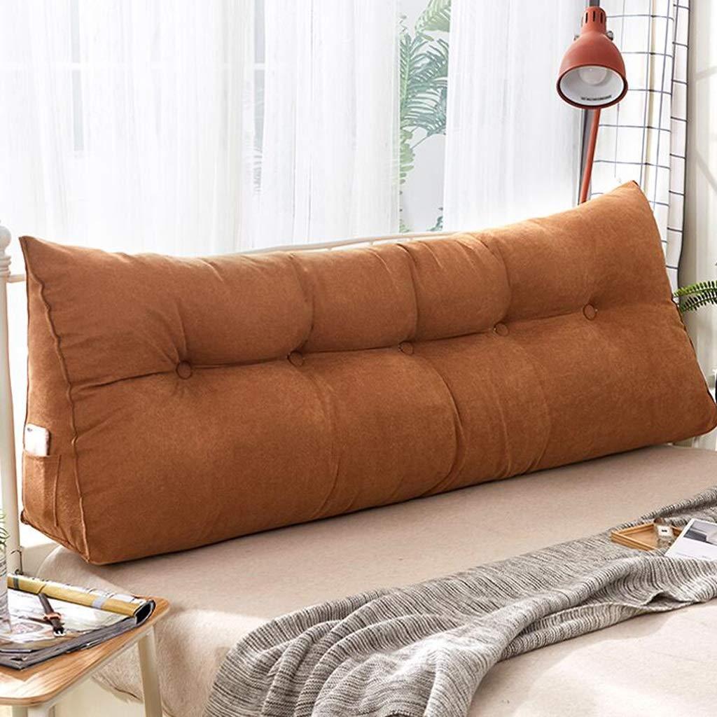QYSZYG Soft Household Solid Color Multicolor Optional Korean Velvet Bed Head Backrest Bay Window Long Pillow Sofa Large Cushion Bedside Large backrest (Color : C, Size : 200 * 50cm)