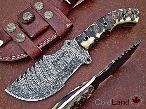 ColdLand Knives Christmas Gift Retail More Than 250$ Special Offer Custom Handmade Damascus Steel Tracker Hunting Knife with Ram Horn Z07