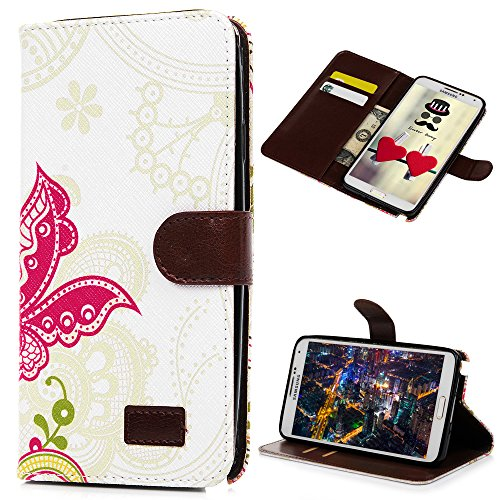 Note 3 Case, Galaxy Note 3 Case - Mavis's Diary Wallet Type Fashion Style Flower PU Leather Series Magnet Design Cover with Kickstand Card Holders for Samsung Galaxy Note 3 SM-N9000 - Butterfly ()