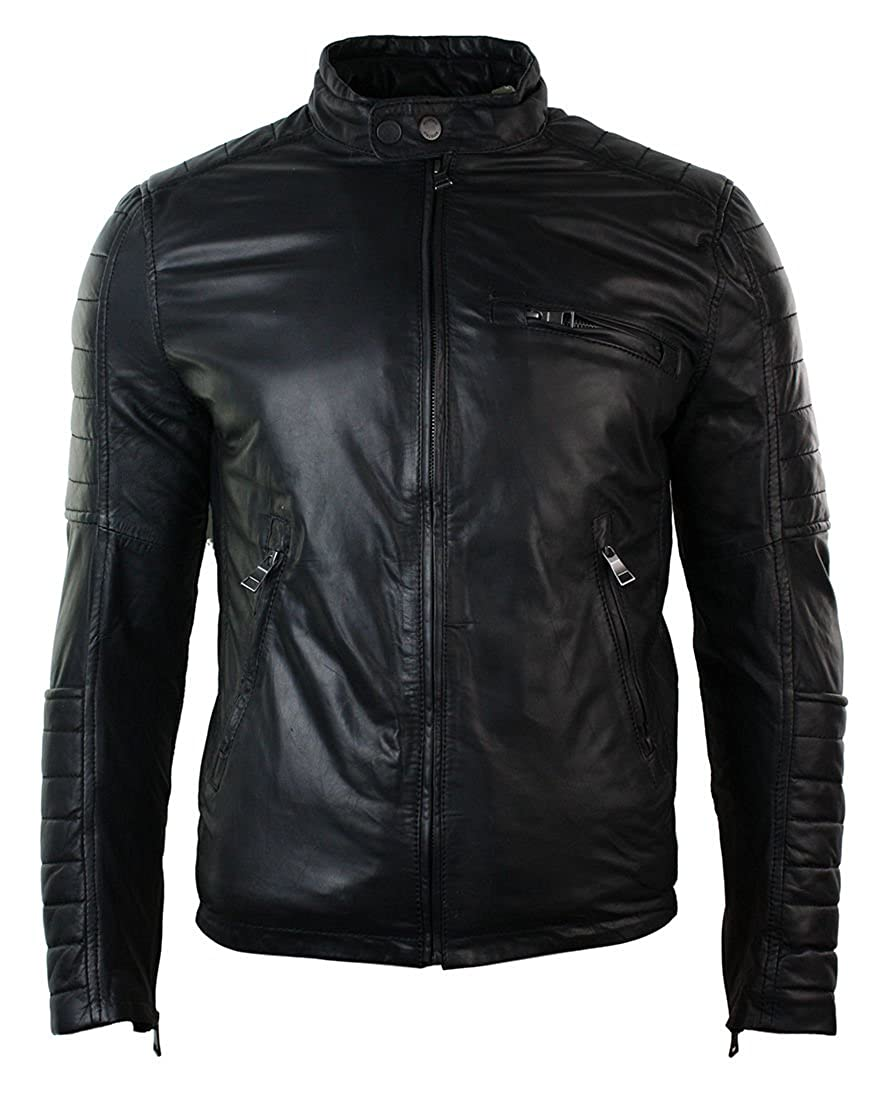 Richline fashions CA Men's Slim Fit Black Padded Real Leather Jacket