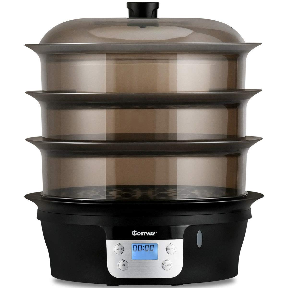 Black See-Through 1000W Boiler 3 Bed Independent Rack Contain 7 QT Easy Operated Control Panel Functions Automatic 2-Hour Timer Cycle Completed Automatic Shut-off Dynamic Food Steamer Pot