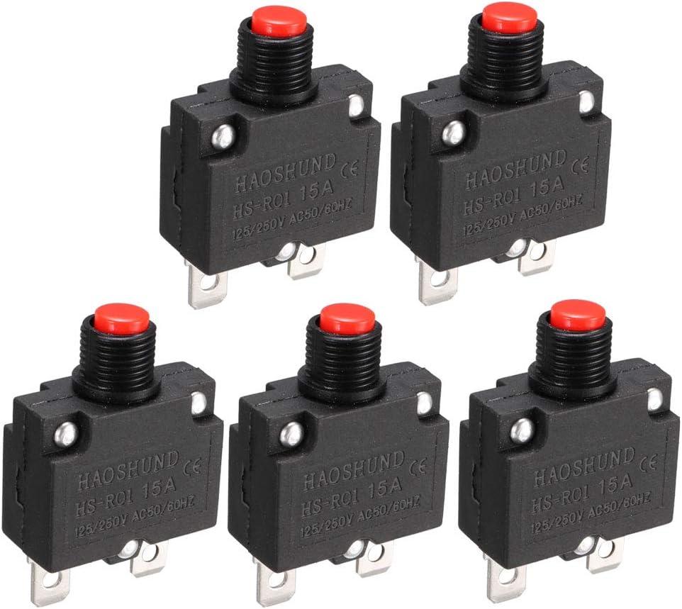 uxcell AC 125V//250V 15A Push Button Circuit Breaker for Air Compressor 5 Pcs