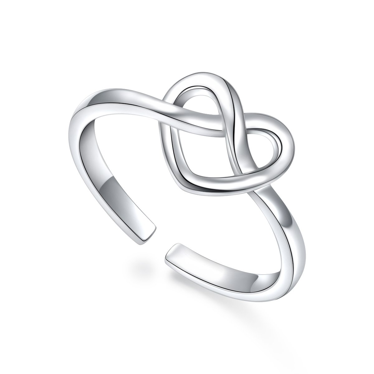 ALPHM Toe Ring for Women S925 Sterling Silver Adjustable Wrap Open Heart Knot Ring