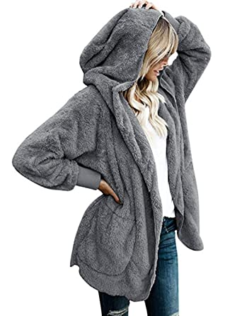 Ruior Women Fashion Casual Solid Plush Open Front Hooded Cardigan ... 6338c90c9