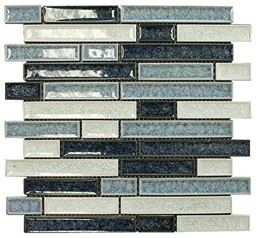 Sky Blue Glossy Crackle Crystal Mosaic Tiles for Bathroom...