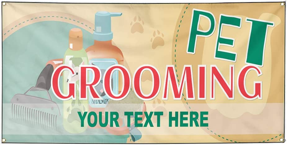 Custom Industrial Vinyl Banner Multiple Sizes Pet Grooming Style C Personalized Text Here Business Outdoor Weatherproof Yard Signs Green 6 Grommets 36x90Inches