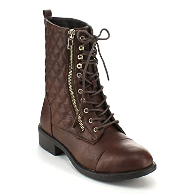 Women's Mid Calf Riding Combat Boots
