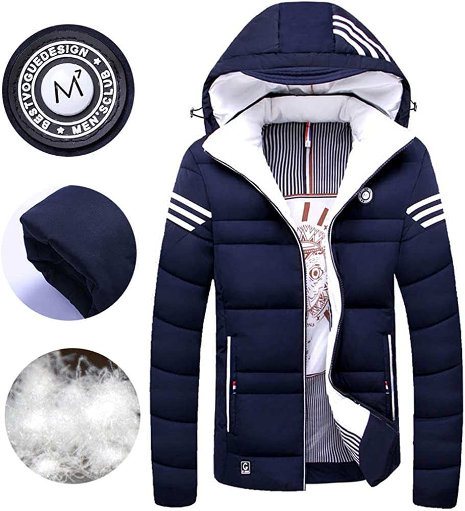 FAXIKIO Mens Hooded Puffer Jacket Winter Padded Quilted Jacket Warm Praka Outwear with Hood