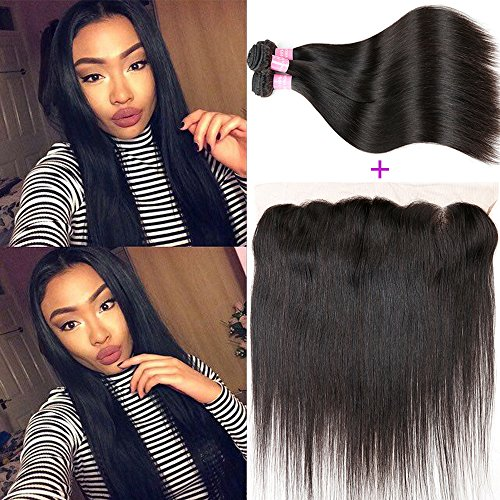 Miss GAGA Brazilian Straight Hair with 13×4 Free Part Frontal Closure 7A Human Hair Extensions 2 or 3 Bundles with Lace Frontal Closure Straight Wave Hair (10 10 with 10)