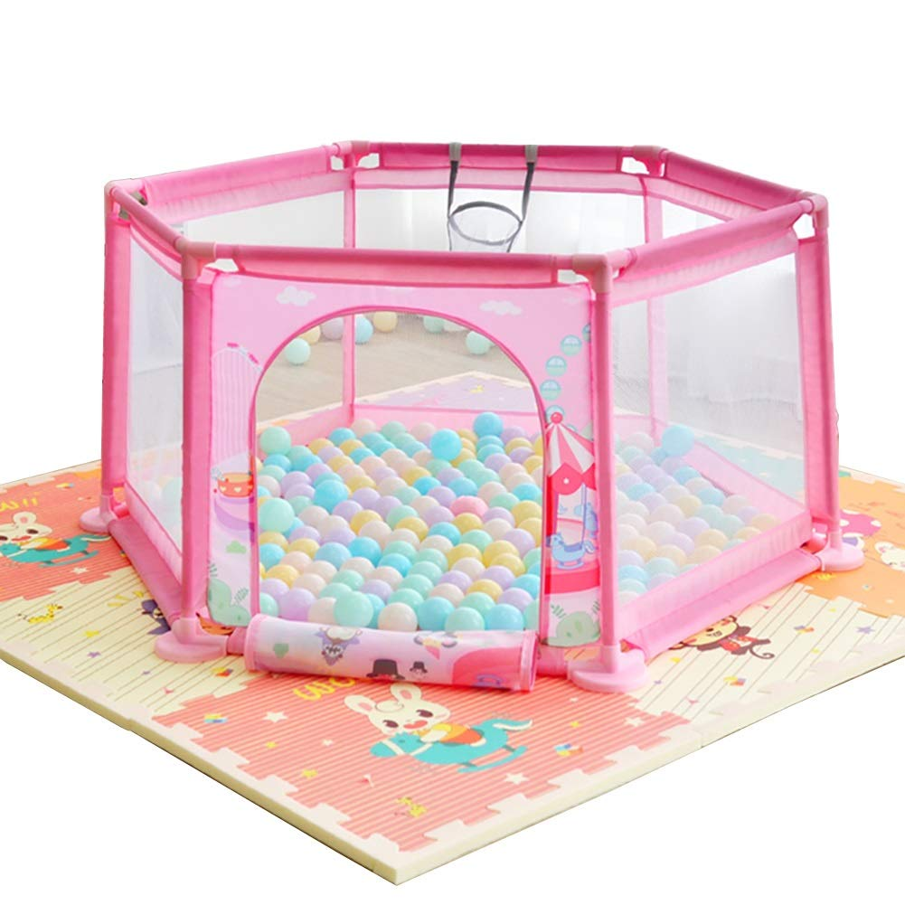 Hulan Children's Fence Playard Playground with Breathable Net, Outdoor Portable Home Park Baby Fence 145x65cm (Color : Pink)