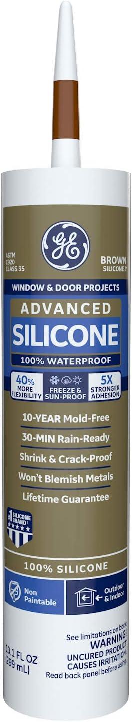 GE Sealants & Adhesives GE5080 Advanced Silicone 2+ Window & Door Sealant Caulk, 10.1oz, Brown