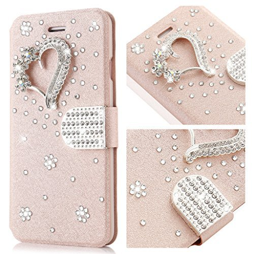 Heart Floral Buckle - iPhone 7 Plus/8 Plus Case L-FADNUT Bling Jewellery Crystal Rhinestone Flip PU Leather Case,3D Love Heart Magnetic Diamond Buckle with Stand Wallet Card Holder For iPhone 7 Plus 5.5 inch- Rose Gold