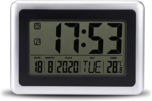 Topker LCD Digital de Pared Grande del termómetro del Reloj del Calendario de Escritorio Medidor de Tiempo Alarma electrónica Interiores Temperatura: Amazon.es: Jardín