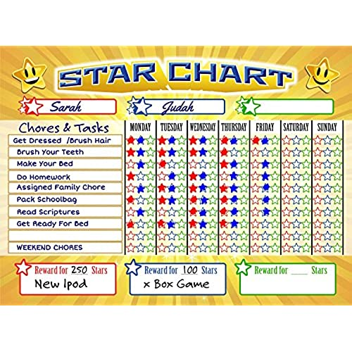 bigtime magnetic behavior star reward chore chart for one or multiple kids toddlers or teens premium dry erase surface charts have full magnet back