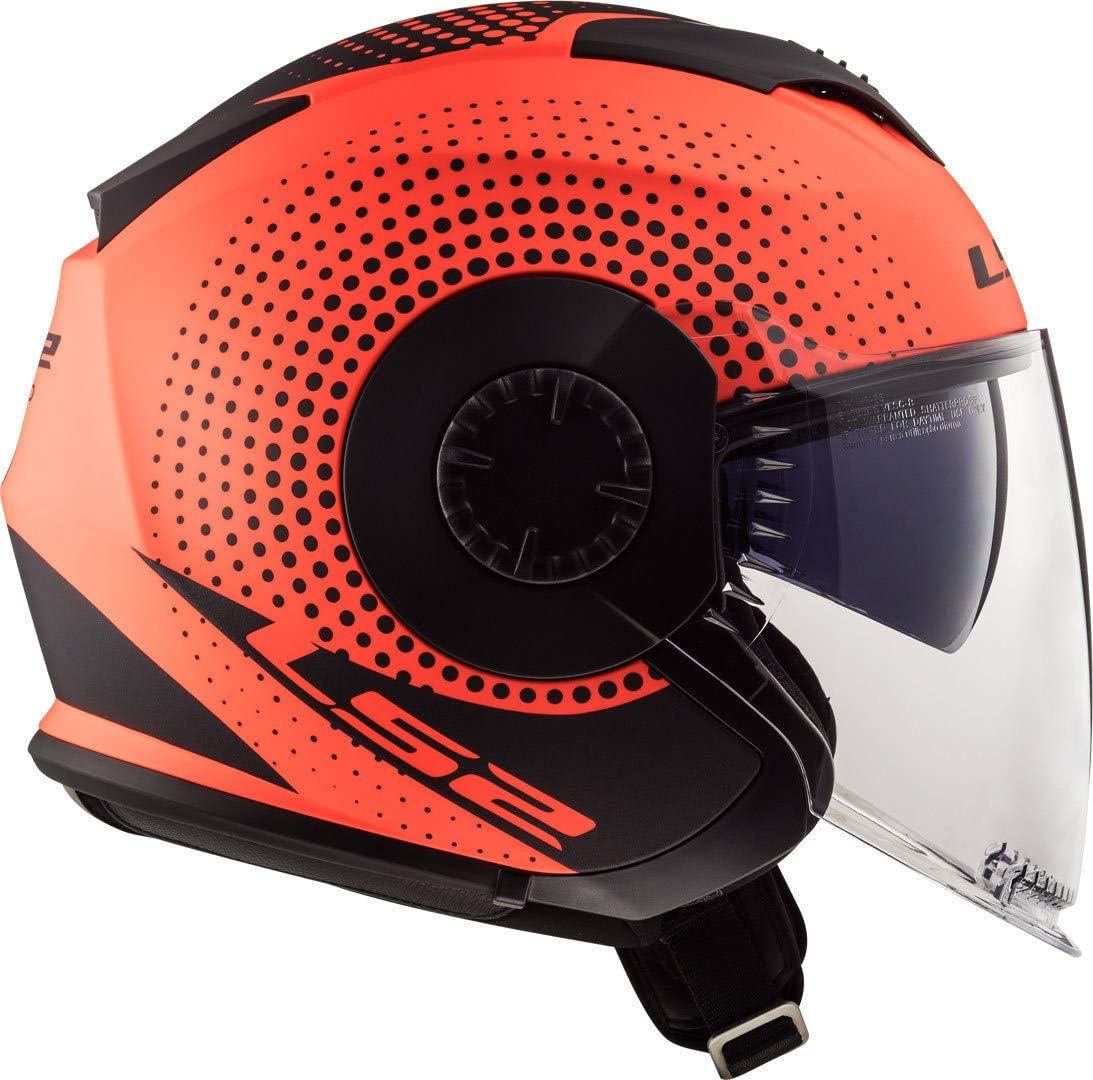 L LS2 Casco Moto of570/verso Spin Matt Hi Vis Amarillo Negro//Amarillo