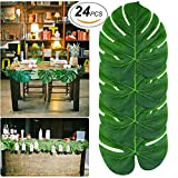 24pcs Palm Leaves Tropical Party Decorations Artificial Monstera Leaves Garland Decor Tropical Leaf Placemats Impress Your Big Day by AXIN