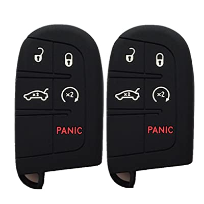 Pack of 2 Black Key Case Covers Jacket Silicone Rubber Fob Keyless Remote Holder Skin fit for JEEP FIAT DODGE Smart Remote Key Case: Automotive