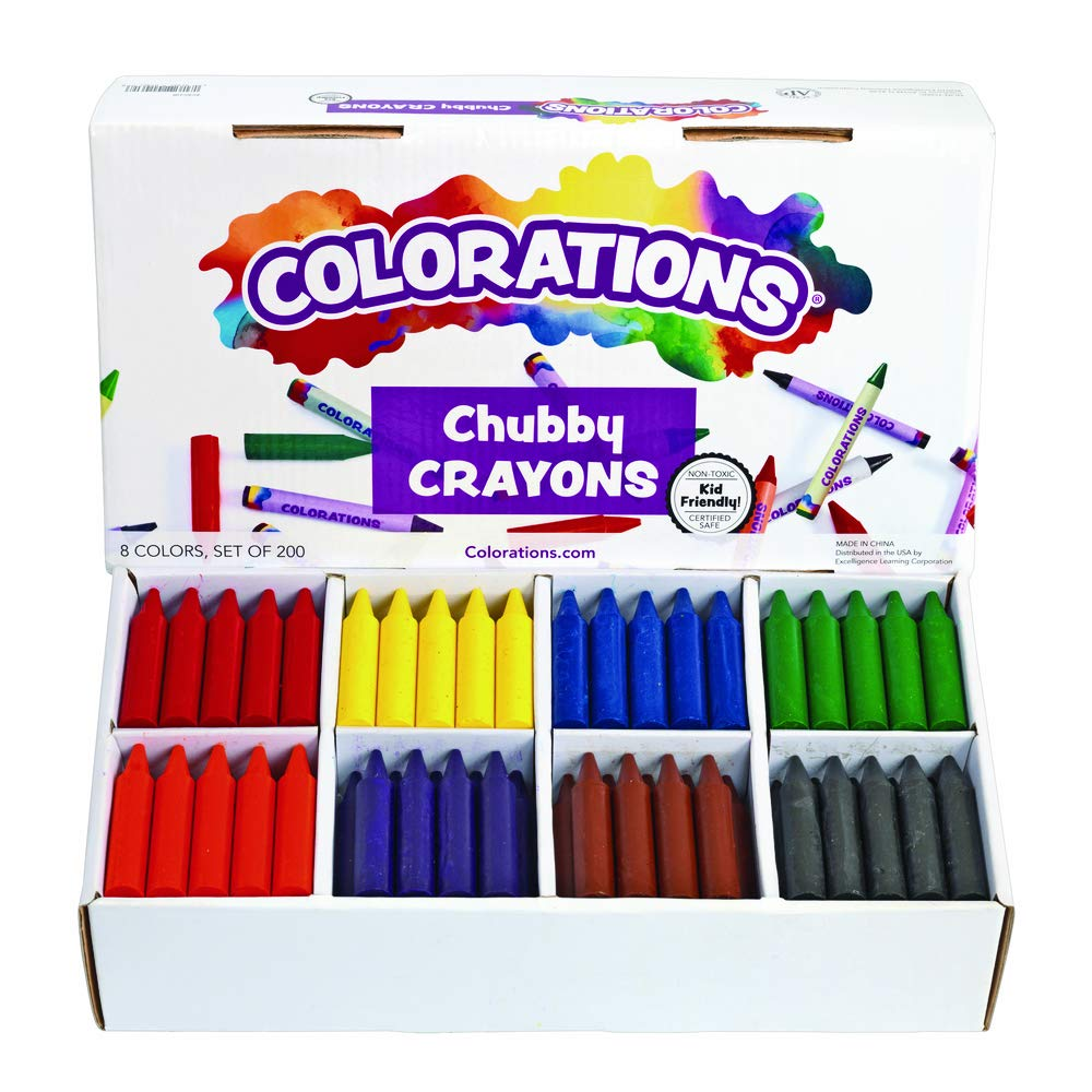 Colorations Chubby Crayons for Kids Set of 200 Rainbow Crayons Classroom Supplies (2-11/16''L x 9/16''Dia) by Colorations