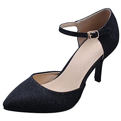 Abby YWE-CN1027 Womens Bussiness Customize Heel Classic Closed Pointed Toe Slip-on Sparkling Ankle Strap Pumps