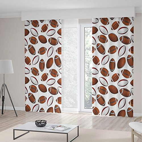 Soho Rugby - iPrint American Football Blackout Curtains,Classic Design Rugby Balls in Cartoon Style Sports Competition,Living Room Bedroom Curtain 2 Panels Set,197 W 104 L,Caramel Ruby White