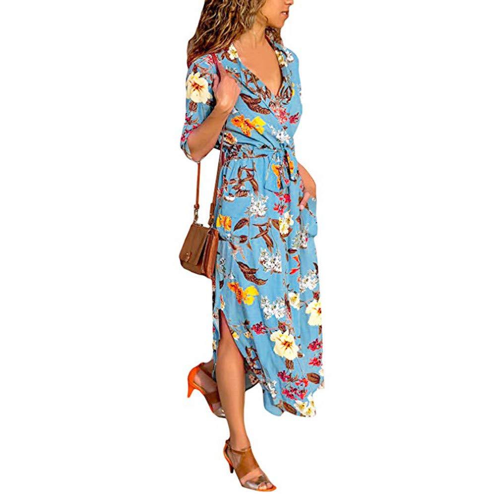Amskywomens Printed Maxi Dress Long Sleeve Sundress Hem Lapels