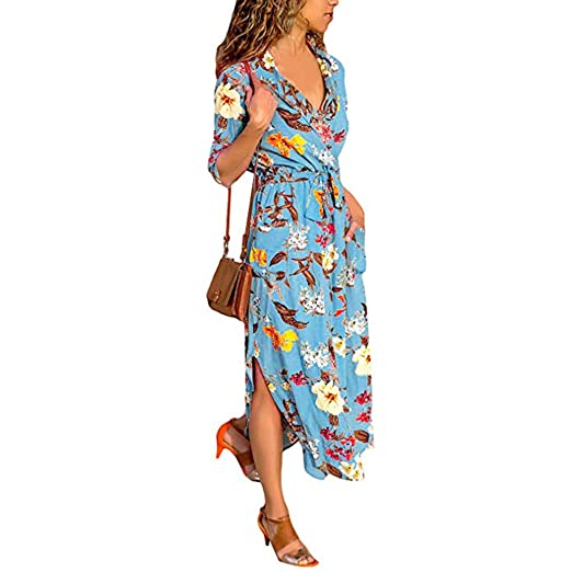 c056008d7d3 AMSKY❤Womens Printed Maxi Dress Long Sleeve Sundress Hem Lapels Belt Shirt  Dress with Belt at Amazon Women s Clothing store