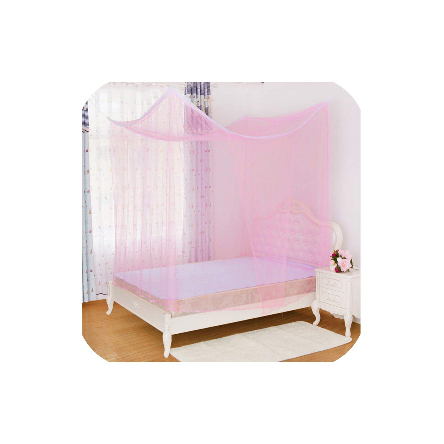 Universal Design Homes Mosquito Net for Double Bed Canopies Adults Single Door Mosquito Net Summer Bed Canopy Plsize,Pink,150X200X200Cm