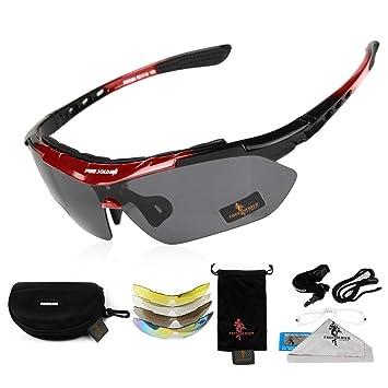 FREE SOLDIER Gafas de Ciclismo para Hombres Gafas tácticas Militares anti-UV400 Gafas de Sol polarizadas 5 en 1 para MTB Airsoft Correr, Pescar, ...