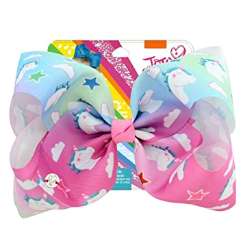 8 inch JoJo Siwa Unicorn Hair Bow Cartoon With Alligator Clip Girl Kids Bowknot